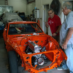 Patrick and Doc after we set the engine and transmission in Patrick's 260Z