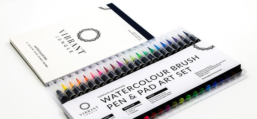 Watercolour Brush Pens & Pad Art Set by Vibrant Jungle