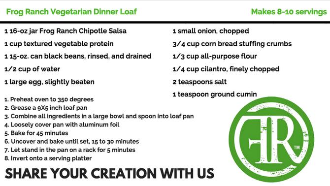 Frog Ranch Vegetarian Dinner Loaf