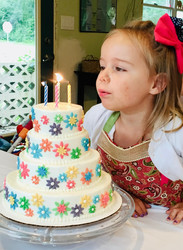 A tiny four-tiered cake for a tiny four-year-old niece!