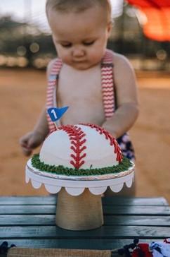 A baseball smash cake for the cutest little boy!  Image Courtesy of Elizabeth Loman Photography