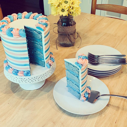 I made this gender reveal cake to share the news with our friends that we're expecting a baby boy! <3 :)