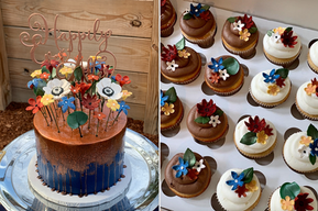 My cake and cupcakes were amazing. It was so pretty we didn't want to cut it! My guests were raving about how good they all tasted and some even went back for seconds. I was so pleased with how it looked and the communication with our vision. -Emily W.