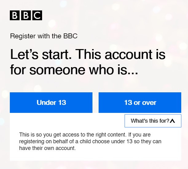 BBC sign up form stipulating why specific information is required