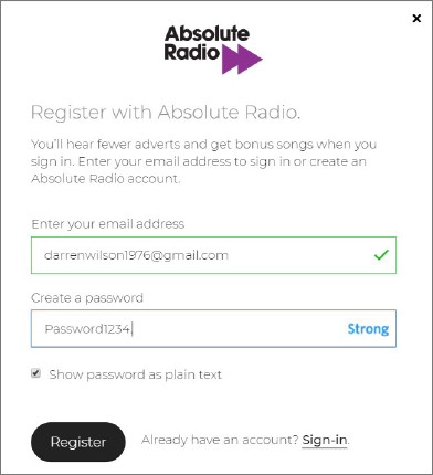 Absolute Radio signup form showing password strength and has option for user to see what has been entered