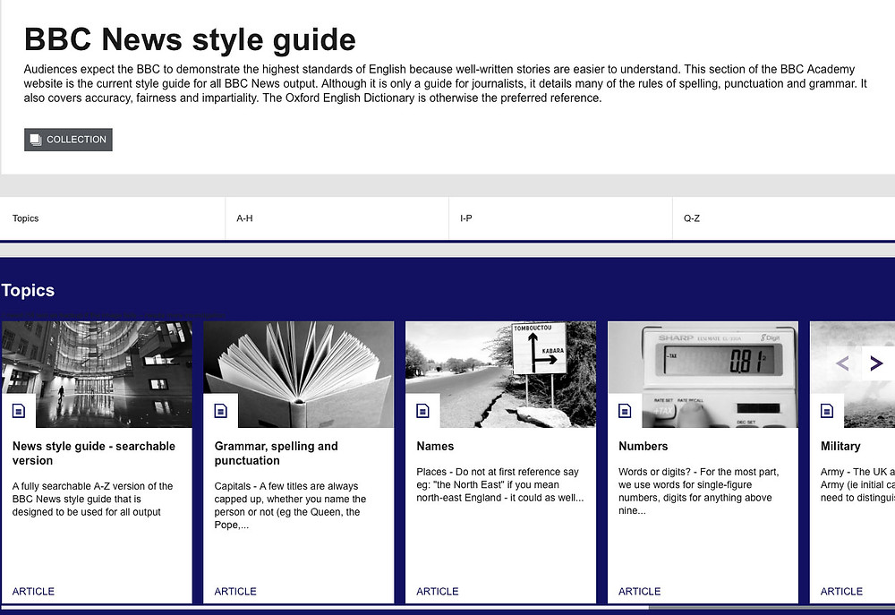 Example from BBC News as to how they communicate the style guide for copy throughout their offering