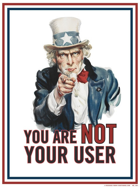 Political satire image to inform people that 'You are NOT your user'