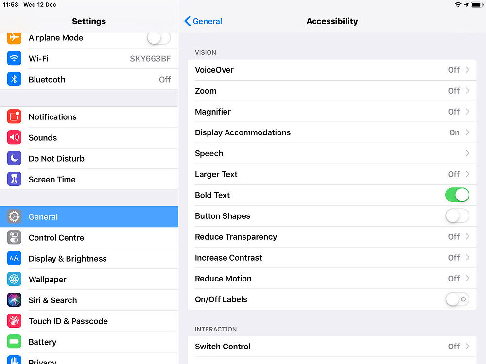 iOS accessibility settings screen showing what can be done and what needs to be considered when designing content