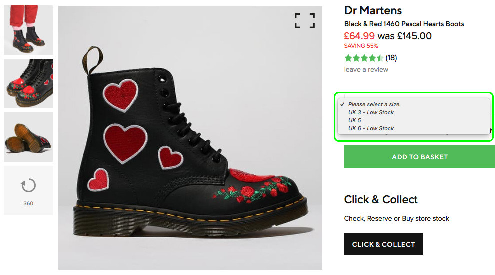 Schuh website size selector component with contextual options preventing ordering a size that isn't available