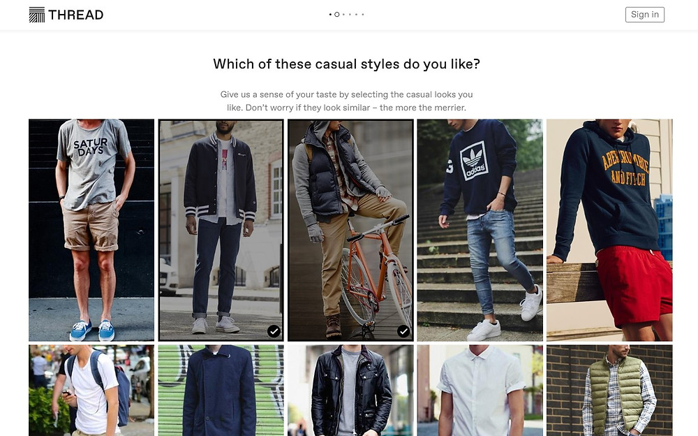 Thread sign up form using pictures of outfit styles to help with understanding what the customer is looking for