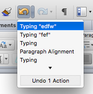 MS Word undo / redo actions buttons and associated list