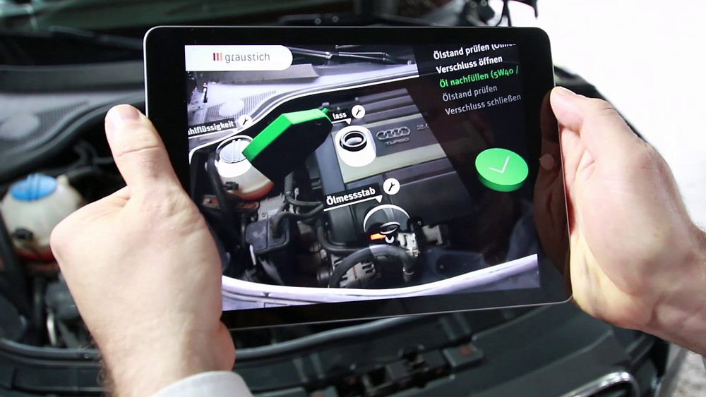 Use of AR in 3rd party application to help AUDI owners change oil in their vehicle using their iPad