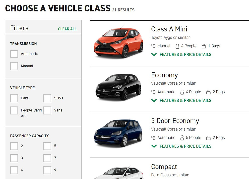 Enterprise car hire form, showing checkboxes for multiple selection search criteria
