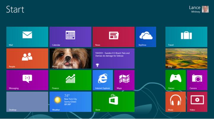 Microsoft start screen, without a 'Start' button