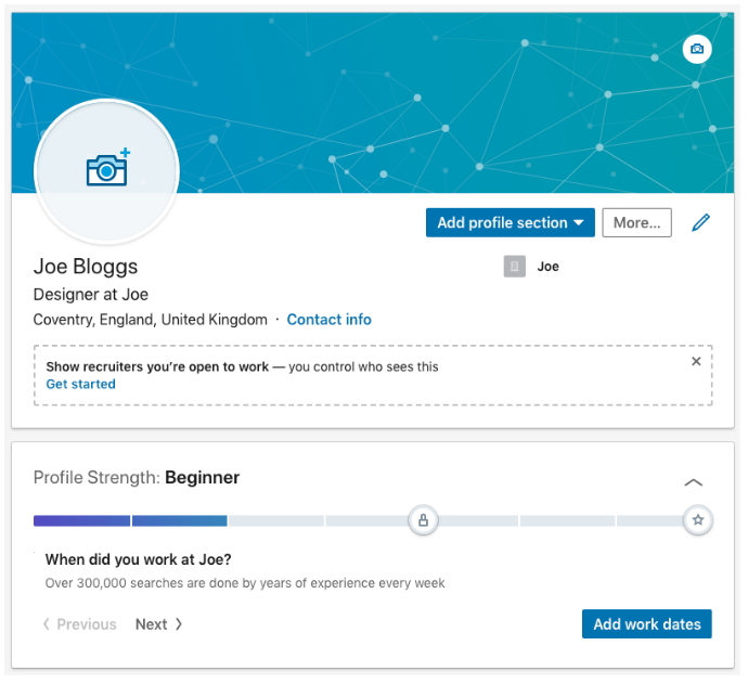 LinkedInProfile setup showing graphical feedback from progress
