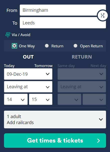 Clear, concise CTA on trainline app to let user know what is going to happen when pressed