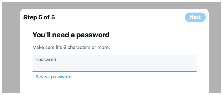 Password entry for Twitter, which provides rules upfront to try and prevent rather than cure