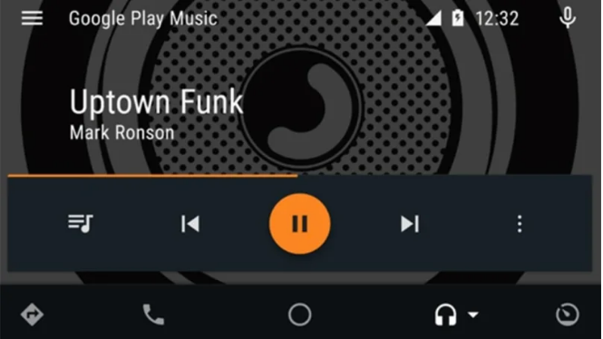Android Auto Music screen, showing only what is necessary, beautifully