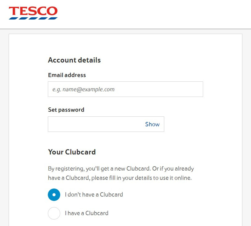 Placeholder text inside the field to help with format at Tesco sign up