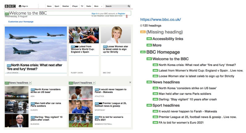 BBC home page showing clear and logical headings structure for visual readers and screen readers