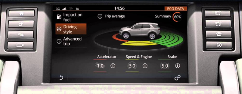Land Rover Discovery touch screen display showing driving behaviour feedback with scores and colours in gaming style