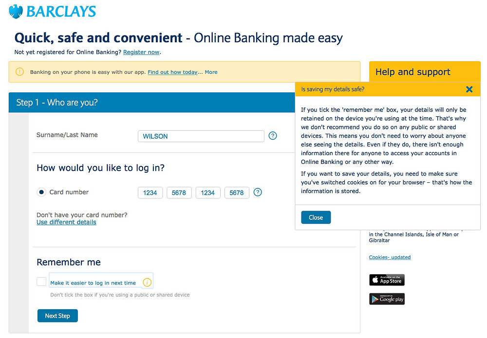 Barclays login screen has issues with not being able to intuitively select the checkbox to remember me next time