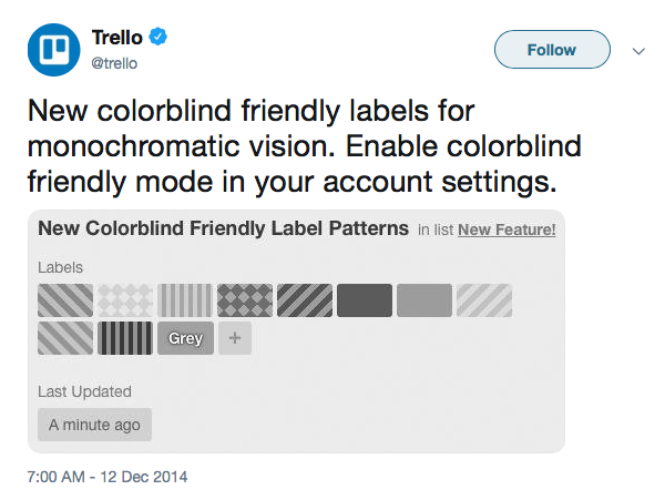 Trello Colour Blind friendly label patterns