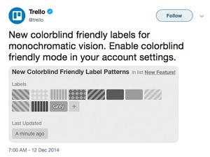 Trello Colour Blind friendly label patterns