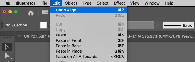 Adobe Illustrator options with keyboard shortcuts displayed to be used later