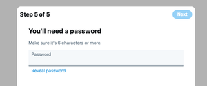 New Twitter Profile, password entry giving guidelines what to do