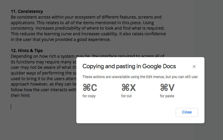 Google Docs corrective action following a right click mouse to paste. Provides corrective action how to paste correctly.