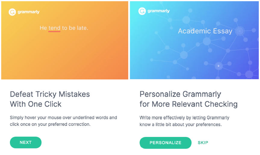 Screenshot from Grammarlyy onboarding UX starting to personalise the experience