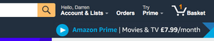 Amazon Shopping Basket with affordance of basket to put shopping into and then pay for