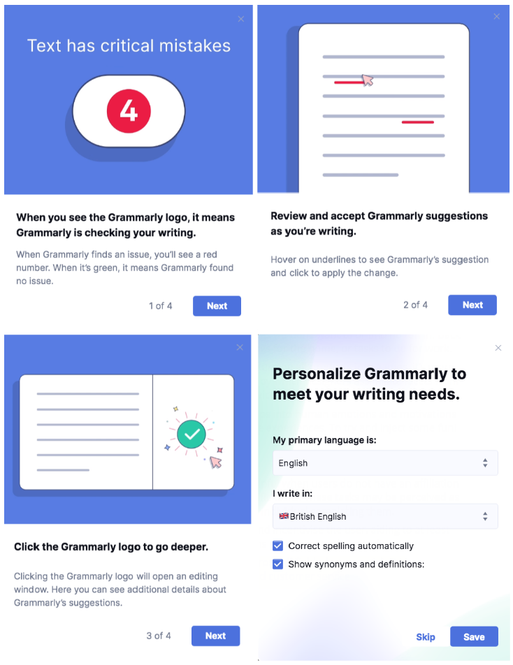 Grammarly use scaffolding as a technique to educate and inform users to know more