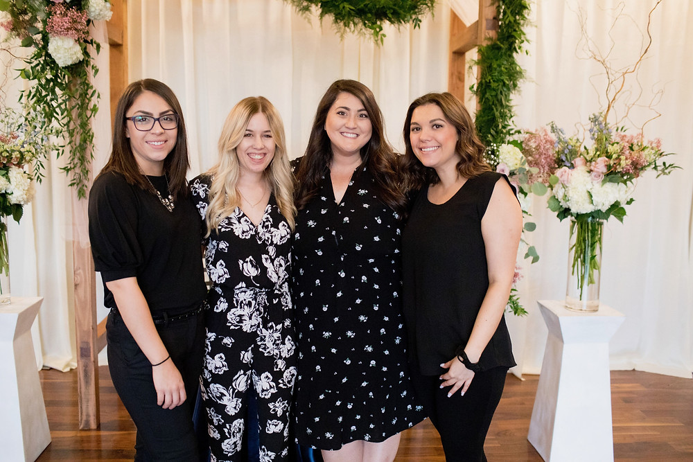 From left to right: Samantha (Assistant Planner), Jessica (Assistant Planner), Mary (Lead Planner), and Delaney (Day of Assistant)