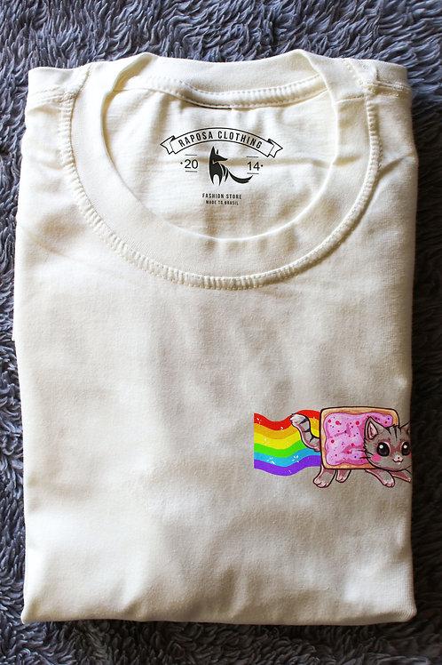 Tshirt  Branca Gato Rainbow