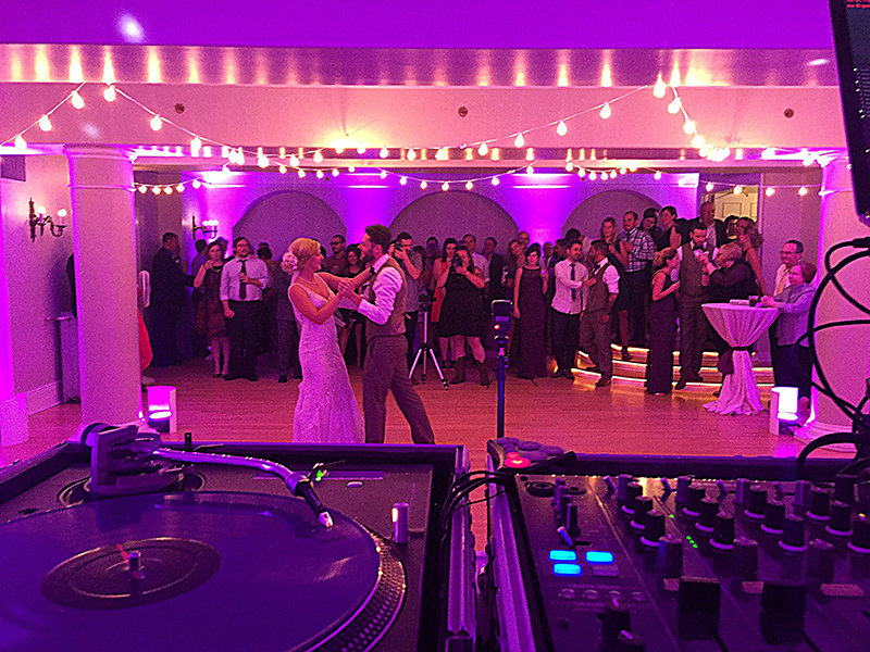 Dancin' Shoes DJ and Lighting - bistro lighting and purple uplighting - Grant Humphrey's Mansion