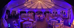Dancin' Shoes DJ and Lighting - Hudson Gardens tent - blue uplighting and market lighting