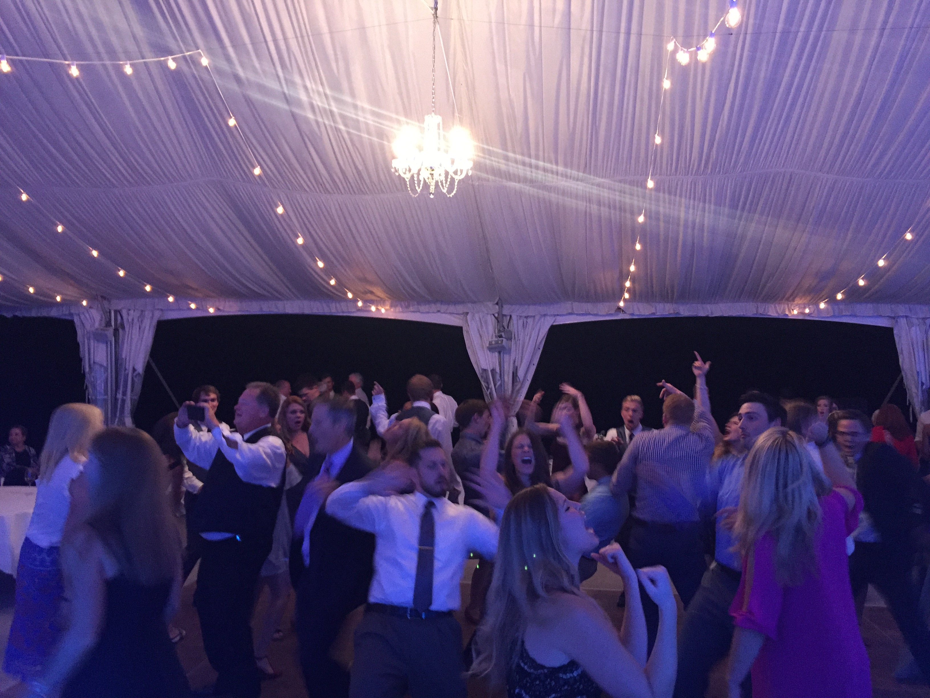 Dancin' Shoes DJ and Lighting - Arrowhead Golf Course - reception tent dance party - chandelier