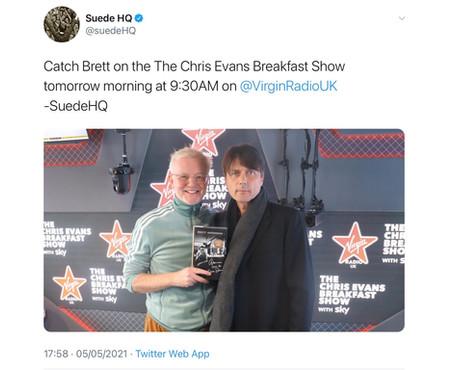 Brett on Chris Evans show tomorrow (Thursday)