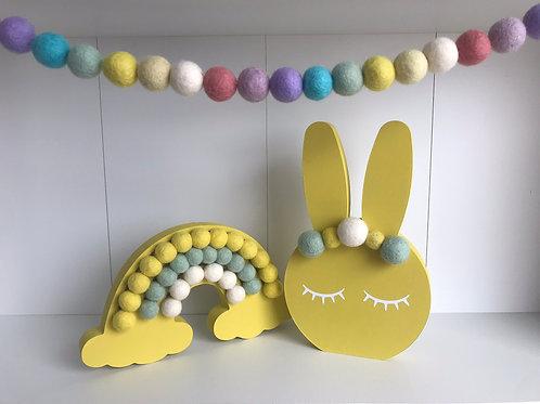 Yellow Handpainted Gift Set -  Bunny, Rainbow and Garland