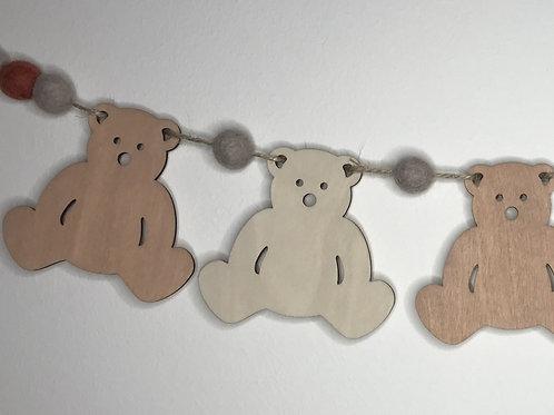 Handpainted Rustic Neutrals Teddy Bear Bunting