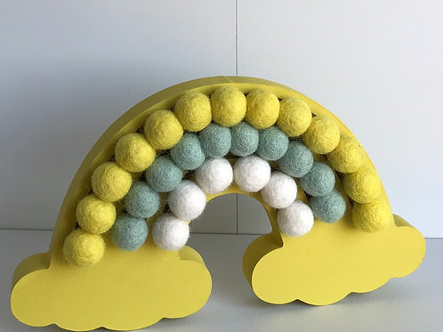 Yellow Handpainted Pom Pom Rainbow