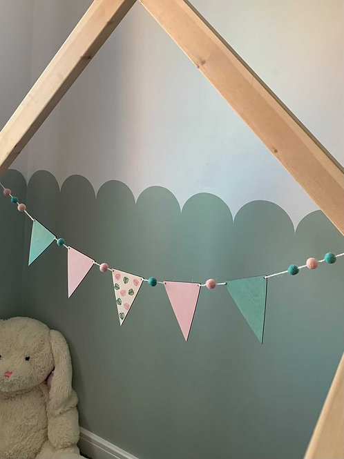 LIMITED EDITION Handpainted Sage & Pink Monstera Leaf Bunting