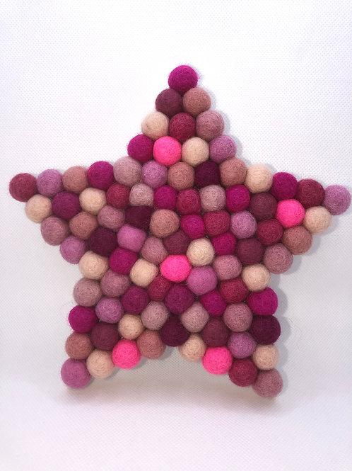 Camellia Handpainted Pink Pom Pom Star