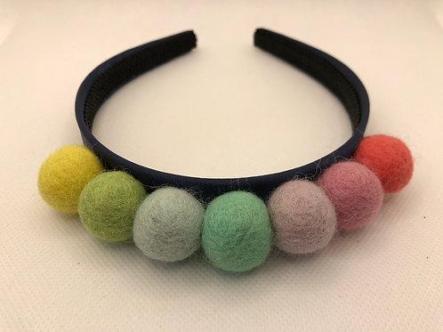 Pastel Rainbow Navy Pom Pom Alice band Hairband