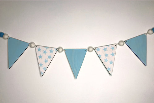 Handpainted Baby Blue Star  Bunting