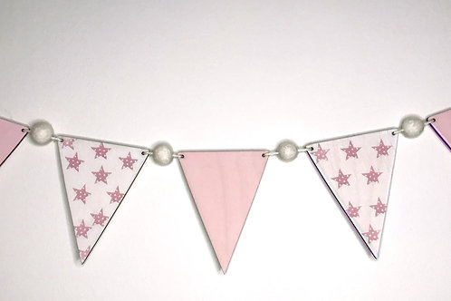 Handpainted Baby Pink Star  Bunting