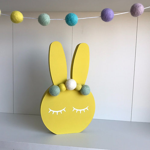 Yellow Personalised Handpainted Pom Pom Bunny