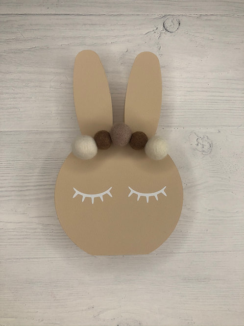 Latte Personalised Handpainted Pom Pom Bunny